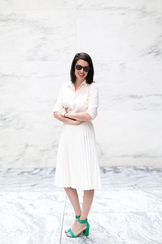 Editor's Style: Sally Holmes' White Midi Skirt - All white with a pop of color!