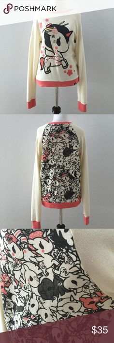 EUC unicorno tokidoki sweater Worn once, no signs of wear or damage. Front of sweater has one large unicorno on entire front. Back panel has a cluster of unicorns. All edges are same coral color. Tokidoki tag on front bottom left. tokidoki Sweaters