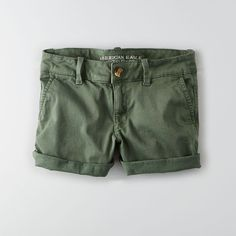 AEO Twill X Midi Shorts ($40) ❤ liked on Polyvore featuring shorts, green, american eagle outfitters, american eagle outfitters shorts, midi shorts, fitted shorts and green shorts