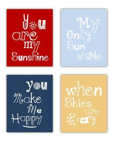 SALE You Are My Sunshine in Red Navy Light Blue by LittlePergola, $44.00