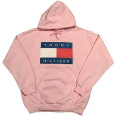 Pink Tommy Hilfiger Logo Hoodie Sweatshirt Vintage 90s Fashion... (£17) ❤ liked on Polyvore featuring tops, hoodies, pink hoodie, hoodie top, vintage hoodies, pink hooded sweatshirt and vintage hoodie