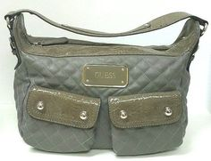 Guess Woman's Hobo Quilted Leather Handbag Gray Medium  #GUESS #Hobo