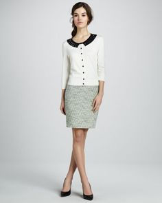 kati beaded cardigan & judy tweed pencil skirt by kate spade new york at Neiman Marcus.