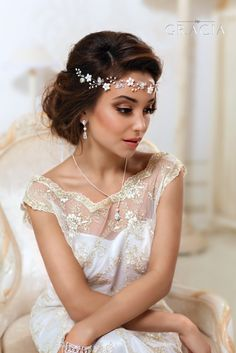 Bridal Flower crown Bridal hair vine White flower crown Leaf