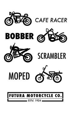 speciality types of cycles.... I'm all about the moped and racers - by RidersLine.com.au