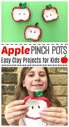 Apple Pinch Pots for Kids - this is a super easy and darling apple craft for kids. Perfect fall activity and super easy and cute. My kids adored the process, and these little apple pinch pots also make great gifts that kids can make later in year. Apple Activities, Autumn Activities, Craft Activities, Preschool Crafts, Playdough Activities, Preschool Ideas, Clay Projects For Kids, Clay Crafts For Kids, Fun Crafts