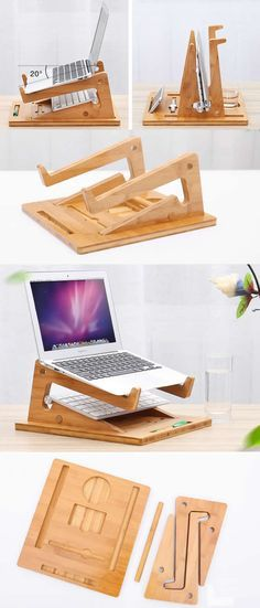 Macbook Air Pro Bamboo Desktop Stand Holder Office Desk Organizer Base for Tablet Laptop