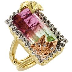 Stambolian Watermelon Tourmaline Diamond Tricolor Gold Ring | From a unique collection of vintage fashion rings at https://www.1stdibs.com/jewelry/rings/fashion-rings/