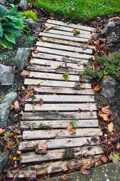 pallet wood garden walkway in fall