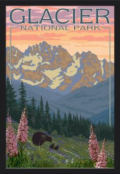 Glacier National Park, Montana - Bear and Cubs with Flowers - Lantern Press Artwork (24x36 Giclee Art Print, Gallery Framed, Black Wood), Multi