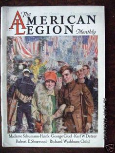 "1927 American Legion Monthly Magazine November cover drawing by Howard Chandler Christy. A crowd of people, with military members marching in a ticker tape parade. American Flags. WWI veterans, Army, Navy, & Air Force men greeting women. Remembering coming home from the war on Armistice Day (also called Remembrance Day or Veteran's Day) A moment of silence on the ""eleventh hour of the eleventh day of the eleventh month"" marks the 1918 moment when fighting ceased between the Allies and…"