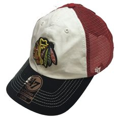 the latest 4b94c b07aa Chicago Blackhawks McKinley Closer Red Mesh Flex Fit Hat By  47 Brand