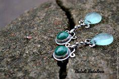 MINT BREEZE earrings silver, malachite, fluorite