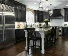 Black and Silver Masculine Kitchen by Callier and Thompson Kitchens and Baths