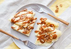 A small batch of crepes for two with dulce de leche sauce. Recipe from The Sugar. Banana Pudding Recipes, Fun Deserts, Crepe Recipes, Sauce Recipes, Waffles, Sweets, Sugar, Cooking, Breakfast