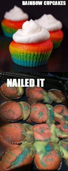 Lmfao this is ME! Tried making pinterest recipe rainbow swirled sugar cookies on Easter & they literally look like the bottom pic on this..