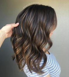 Thin Caramel Highlights For Brunettes