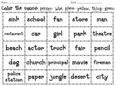 Noun activity - do this with a variety like nouns, adjectives, verbs, etc Teaching Grammar, Teaching Tips, Teaching Reading, Learning, Student Teaching, Nouns Worksheet, Grammar Worksheets, Noun Chart, Reading Worksheets