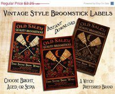 Halloween Witch Label Vintage Broom Besom Digital Download Collage Sheet Printable Scrapbook Image Clip Art INSTANT DOWNLOAD