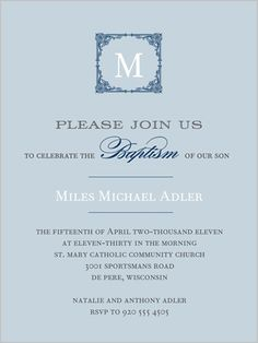 Elegant Monogram Blue 4x5 Stationery Card by Float Paperie