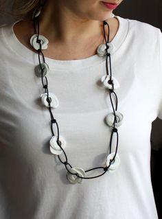 Necklace Porcelain white/black by JulianeBlank on Etsy