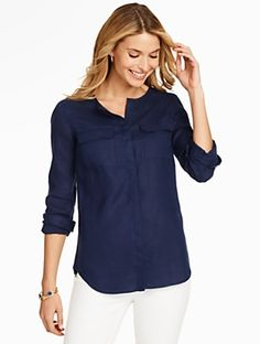 Talbots - Linen Camp Shirt | | Misses Discover your new look at Talbots. Shop our Linen Camp Shirt for stylish clothing and accessories with a modern twist at Talbots