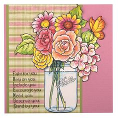 Stampendous Build A Bouquet - Jumbo Cling Rubber With Template - CRS5074