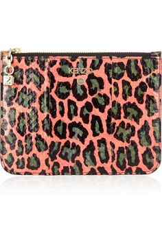 KENZO | Animal-print watersnake and patent-leather clutch | NET-A-PORTER.COM