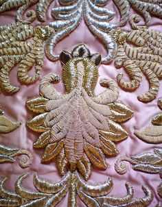 Gold embroidery by mara Couture Embroidery, Gold Embroidery, Embroidery Patterns, Textiles, Lesage, Passementerie, Gold Work, Ribbon Work, Fabric Art