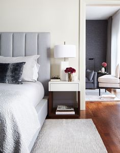 """When it comes to this serene, restrained principal bedroom, """"calm oasis"""" is an understatement. Kids Bedroom, Master Bedroom, Bedroom Ideas, Bedroom Decor, Latest Bedroom Design, Design Bedroom, Interior Design And Real Estate, Oasis, Bedroom Design Inspiration"""