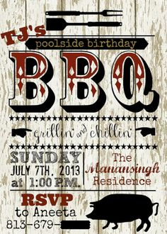 Backyard Poolside BBQ Party Invitation by OohLaLlew on Etsy, $1.00