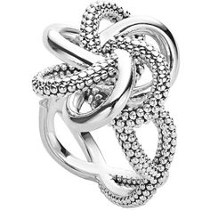 LAGOS Sterling Silver Love Knot Ring (1140 QAR) ❤ liked on Polyvore featuring jewelry, rings, silver, beaded jewelry, sterling silver bead jewelry, love knot jewelry, lagos rings and twist jewelry