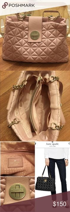 Kate Spade Whitaker Place Elena Quilted Kate Spade purse in the color cipria, similar to ballet slipper - a beautiful soft pink. Gold hardware. In good condition, minor wear. Price reflects flaws kate spade Bags Shoulder Bags