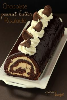 Chocolate and Peanut Butter Roulade made with homemade peanut butter and PB cups. For serious peanut butter lovers. from #dietersdownfall.com