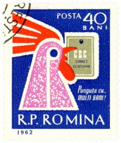 Romania postage stamp: rooster c. 1962 designed by C. Ciuvetescu