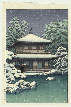 Hasui Kawase - Temple Ginkakuji à Kyoto sous la neige 1951