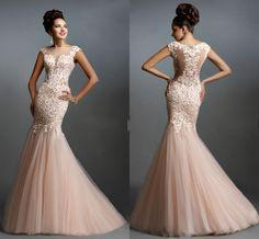 Janique 2015 Blush Mermaid Evening Dresses Sheer Bateau Neck Floor Length Lace Party Dresses Appliques Formal Evening Gowns Pageant Dresses