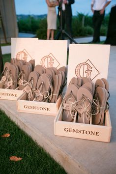 Wedding #Favors #FlipFlops | See the wedding on SMP -  http://www.StyleMePretty.com/2014/01/07/farmstead-at-long-meadow-ranch-wedding/ Jessica Burke Photography