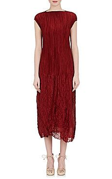 Lucky Pleated Silk Charmeuse Dress