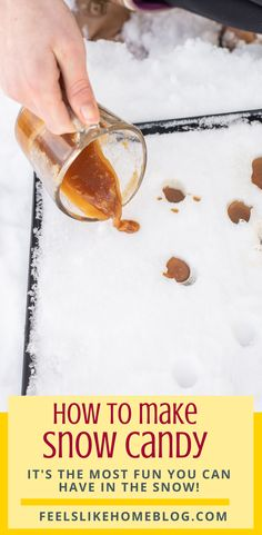 How to make snow candy. This quick & easy recipe with butter and maple syrup makes a delicious caramel candy. It's a fun thing to do in the snow! Maple Dessert Recipes, Easy Candy Recipes, Sweets Recipes, Just Desserts, Snow Candy Recipe, Snow Recipe, Canadian Food, Canadian Recipes, All You Need Is