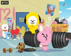 Gym interior matters to Cooky! Bts Chibi, Bts Boys, Bts Bangtan Boy, Jikook, Hello Kitty, Bt 21, Gym Interior, Army Love, Line Friends