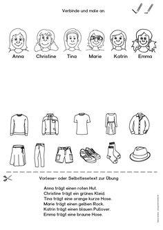 """kostenloses Arbeitsblatt für DaF/DaZ (Deutsch als Fremdsprache/Zweitsprache) zum Thema """"Kleidung"""", z.B. für das Deutschlernen mit Flüchtlingen"""