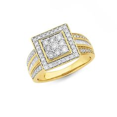 9ct Gold Diamond Round Brilliant & Baguette Fancy Square Dress Ring