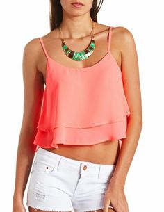 Layered Swing Crop Top: Charlotte Russe