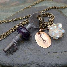 Skeleton Key Necklace Glass Beaded Boro Lampwork Pendant Jewelry, Amethyst Purple - Sassy CustomMade by Paula McDonough