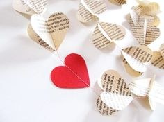 Sewn paper heart garland