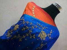 To order plz WhatsApp me to 91 7730891805 Designer Sarees, Designer Wear, Embroidery Saree, Work Blouse, Trouser Pants, Saree Blouse, Fashion Pants, Blouse Designs, Blouses