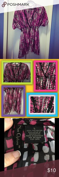80s Style Sheer Tunic Bright and cute with some shiney sequins. Cover up a swimsuit or where over a tank with leggings. In excellent condition. Nue Options Tops Tunics