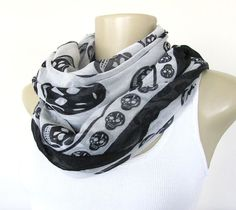 Skull Scarf  White and Black Skull Scarf by ViviansAttic on Etsy, $12.50