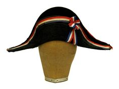 French Antique Bicorne Cocked Hat with Tricolore Cockade and